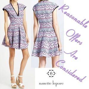 Nanette Lepore Fit Flare Pleated Mini Dress 2 Cove